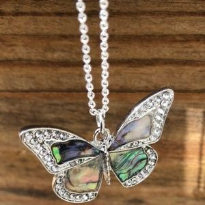 Crystal and Abalone Butterfly Pendant Necklace